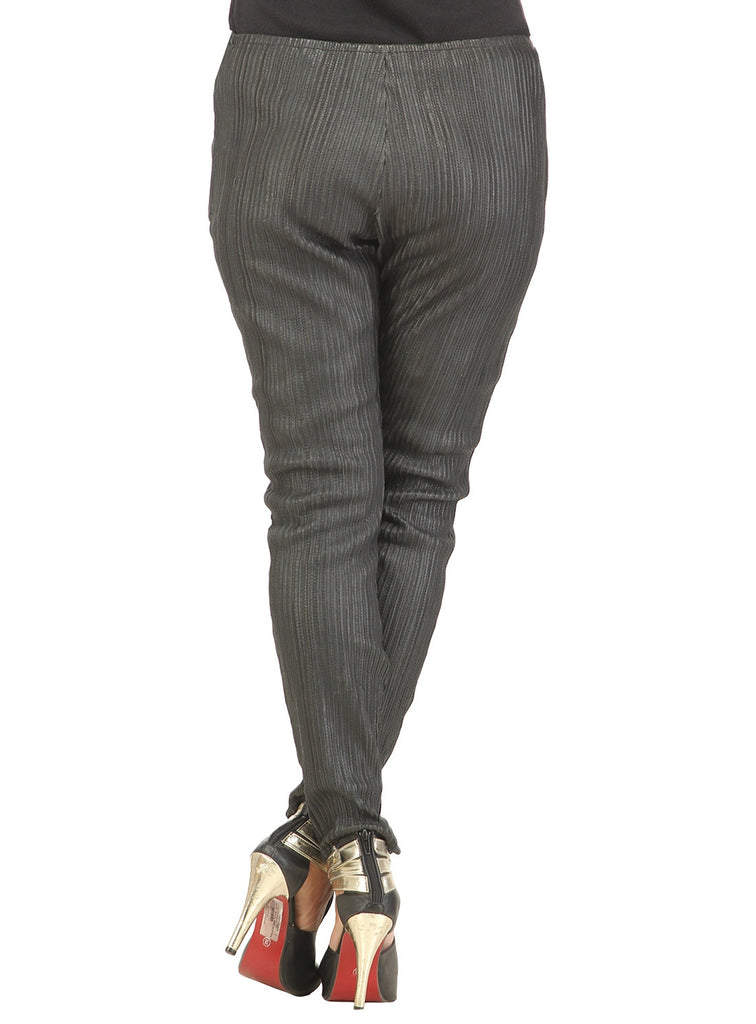 Designer Women Leather Strip Leggings , Ladies leather Pant/Leggings - CrabRocks, LeatherfashionOnline  - 4