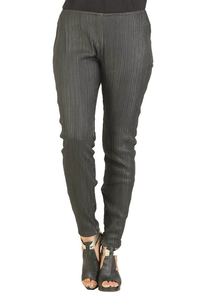 Designer Women Leather Strip Leggings