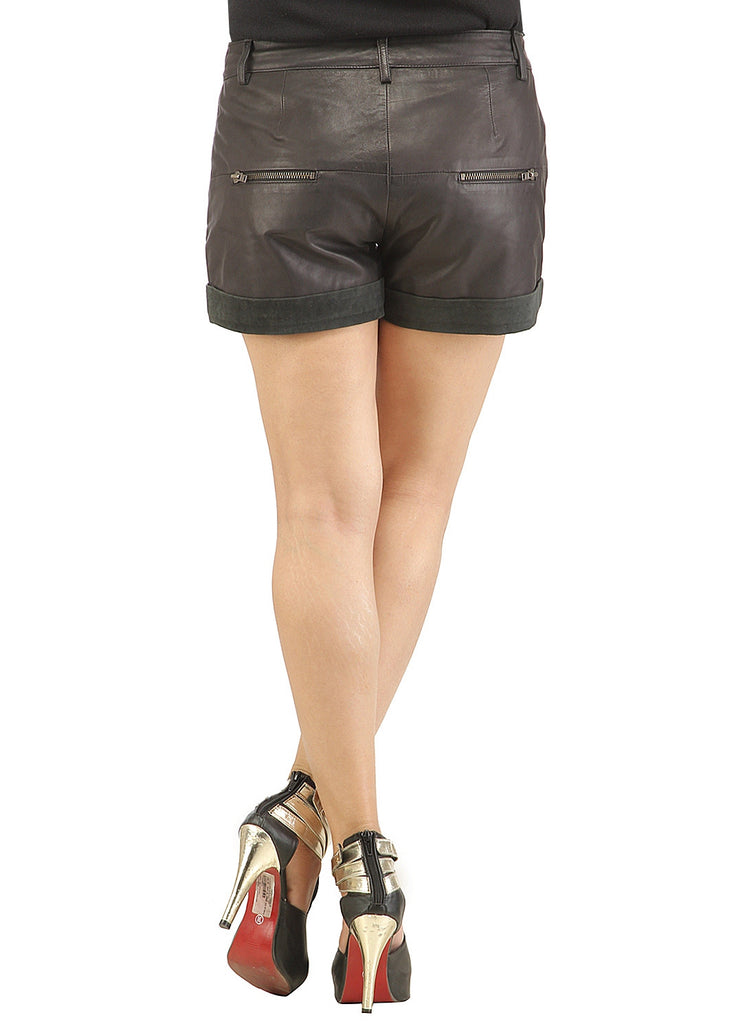 Women Leather Casual Sport Shorts , Ladies Leather Shorts - CrabRocks, LeatherfashionOnline  - 3