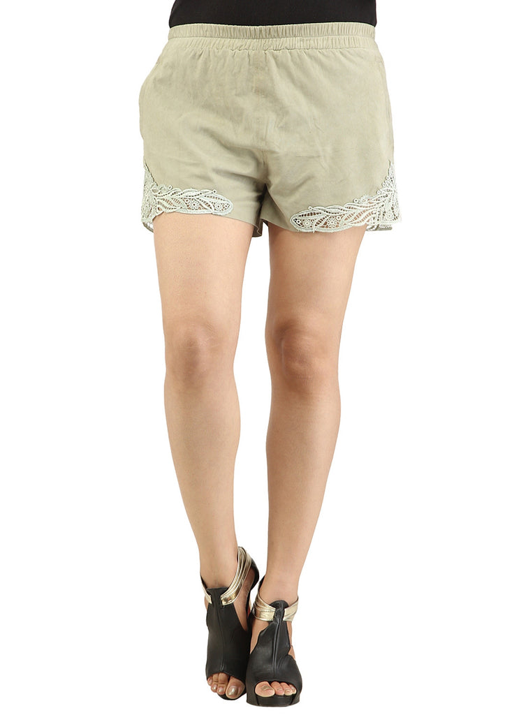 Designer Women Leather Lace Shorts S / Leather / Grey, Ladies Leather Shorts - CrabRocks, LeatherfashionOnline  - 4