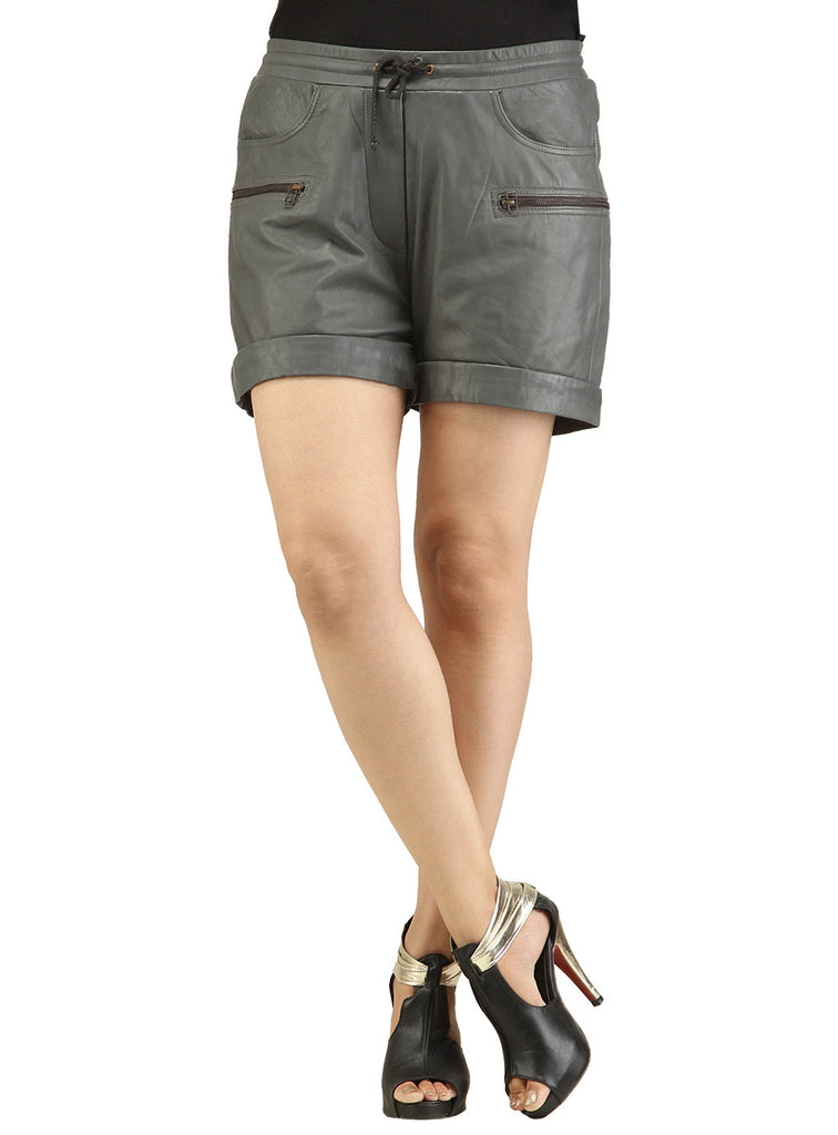 Ladies Leather Casual Shorts S / Leather / Grey, Ladies Leather Shorts - CrabRocks, LeatherfashionOnline  - 4