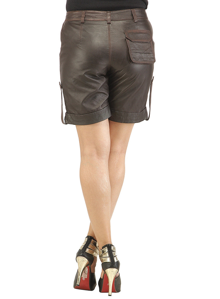 Ladies leather Sporty Cargo Shorts , Ladies Leather Shorts - CrabRocks, LeatherfashionOnline  - 6