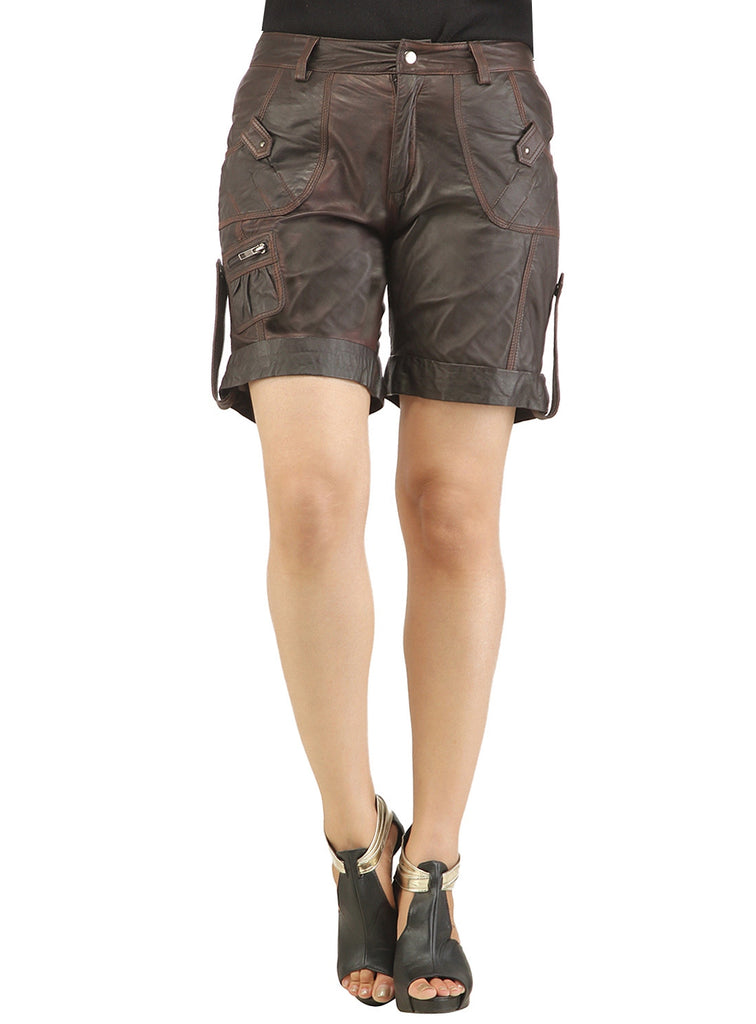 Ladies leather Sporty Cargo Shorts S / Leather / Brown, Ladies Leather Shorts - CrabRocks, LeatherfashionOnline  - 4