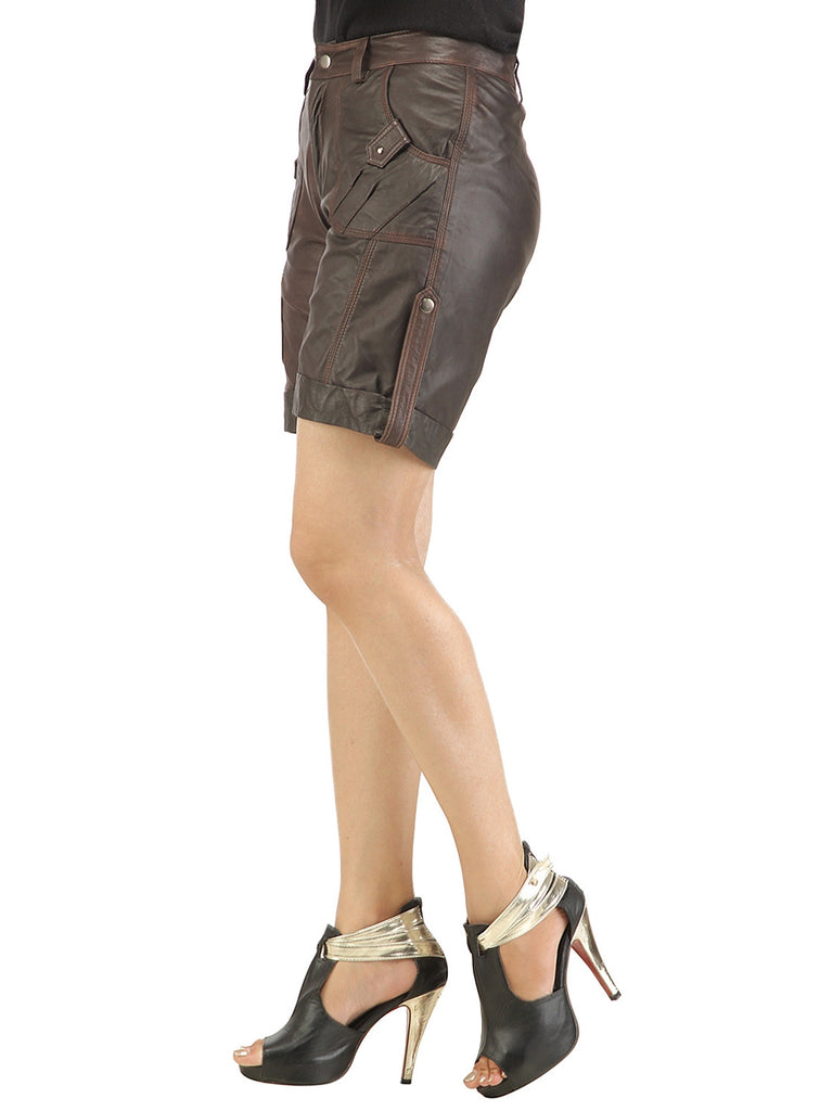 Ladies leather Sporty Cargo Shorts , Ladies Leather Shorts - CrabRocks, LeatherfashionOnline  - 5