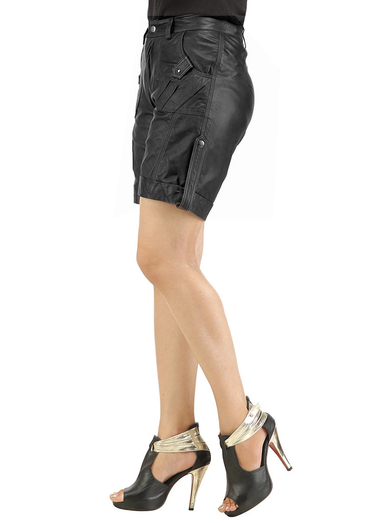 Ladies leather Sporty Cargo Shorts , Ladies Leather Shorts - CrabRocks, LeatherfashionOnline  - 2