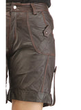 Ladies leather Sporty Cargo Shorts , Ladies Leather Shorts - CrabRocks, LeatherfashionOnline  - 7