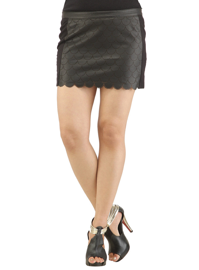 Women Leather Perforated Fitted Mini Skirt , Women Leather Skirt - CrabRocks, LeatherfashionOnline  - 1