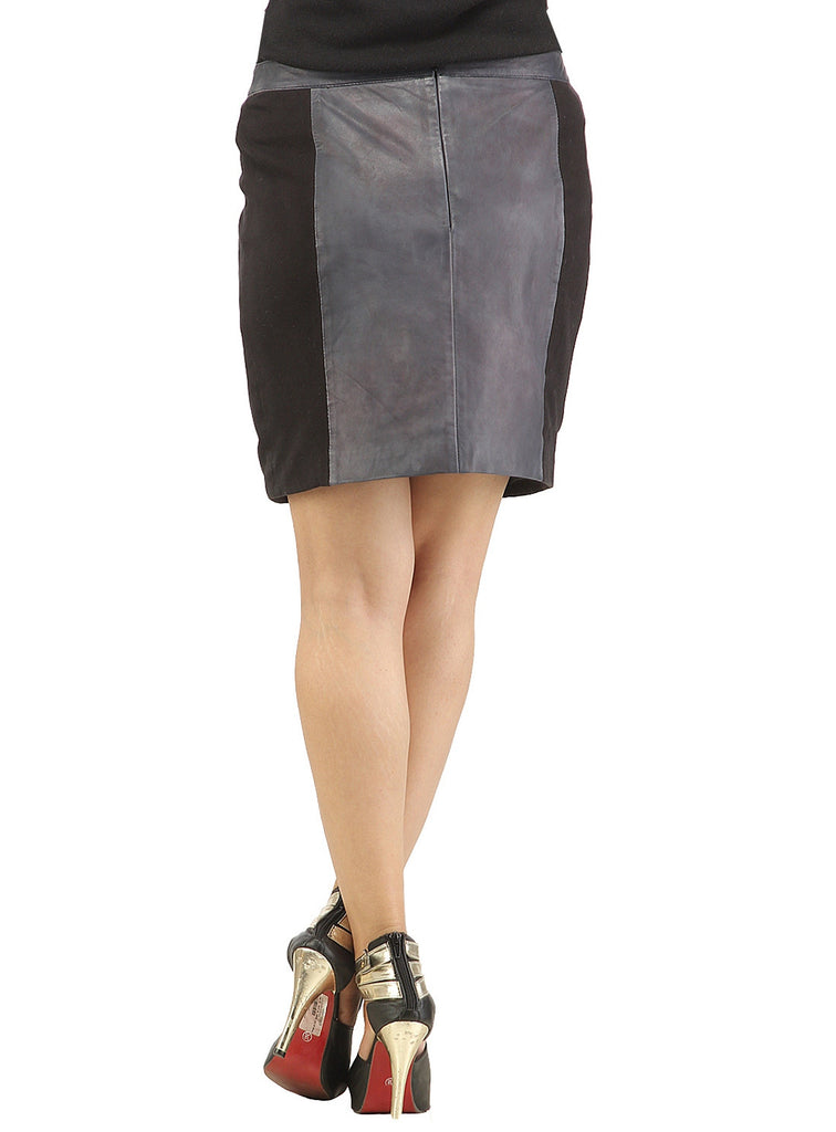 Women Designer Laser Printing Fitted Leather Skirt , Women Leather Skirt - CrabRocks, LeatherfashionOnline  - 3
