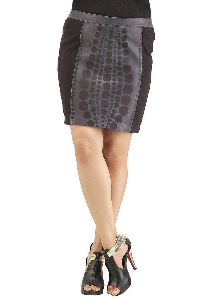 Women Designer Laser Printing Fitted Leather Skirt S / Leather / Black /Grey, Women Leather Skirt - CrabRocks, LeatherfashionOnline  - 1