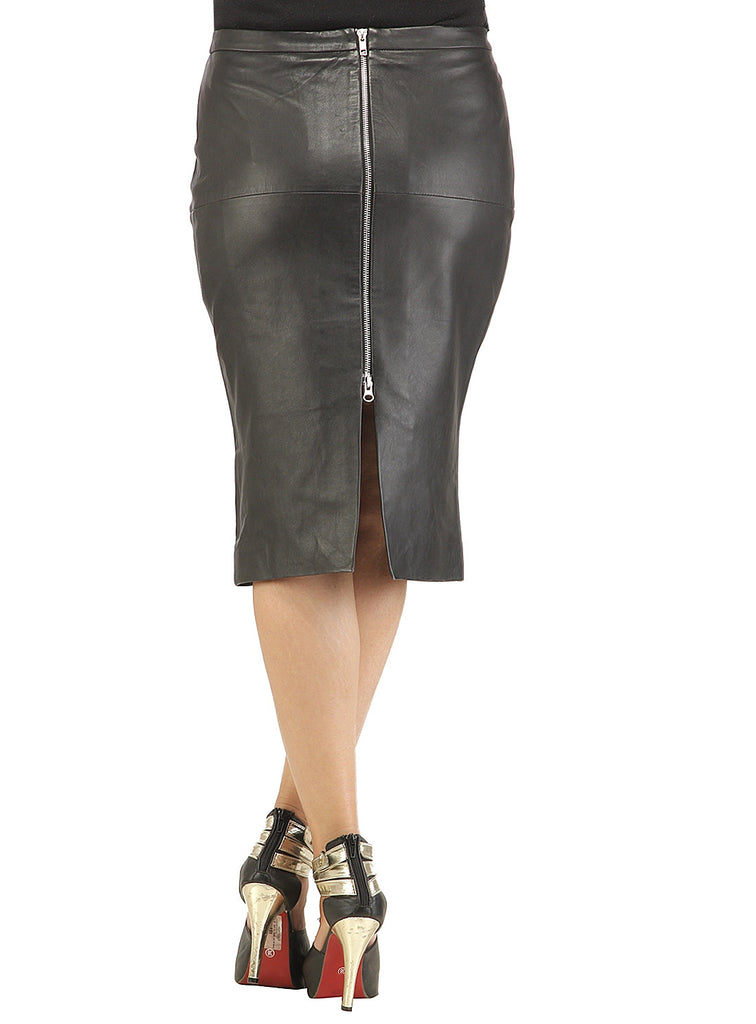 Ladies Formal Long Skirt- Best Seller workwear , Women Leather Skirt - CrabRocks, LeatherfashionOnline  - 3