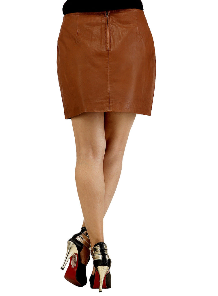 Real Leather Short Skirt , Women Leather Skirt - CrabRocks, LeatherfashionOnline  - 3