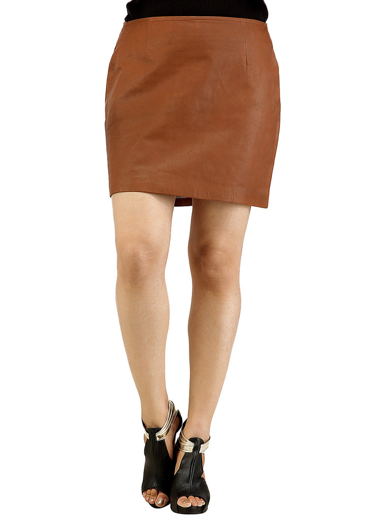 Real Leather Short Skirt , Women Leather Skirt - CrabRocks, LeatherfashionOnline  - 1