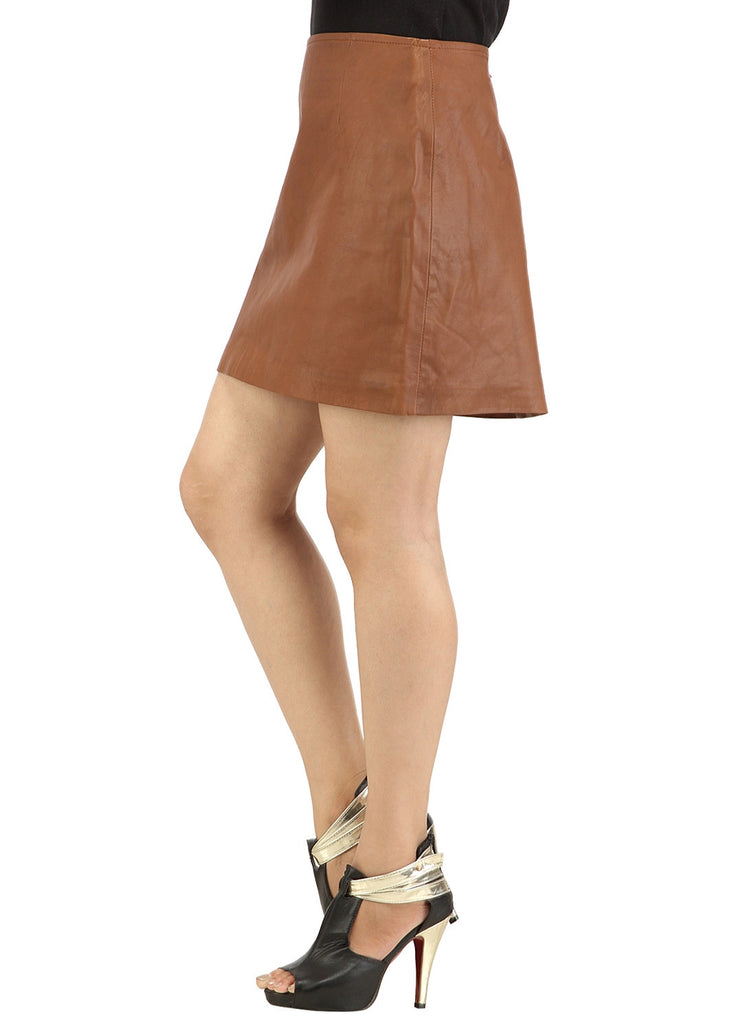 Real Leather Short Skirt , Women Leather Skirt - CrabRocks, LeatherfashionOnline  - 2