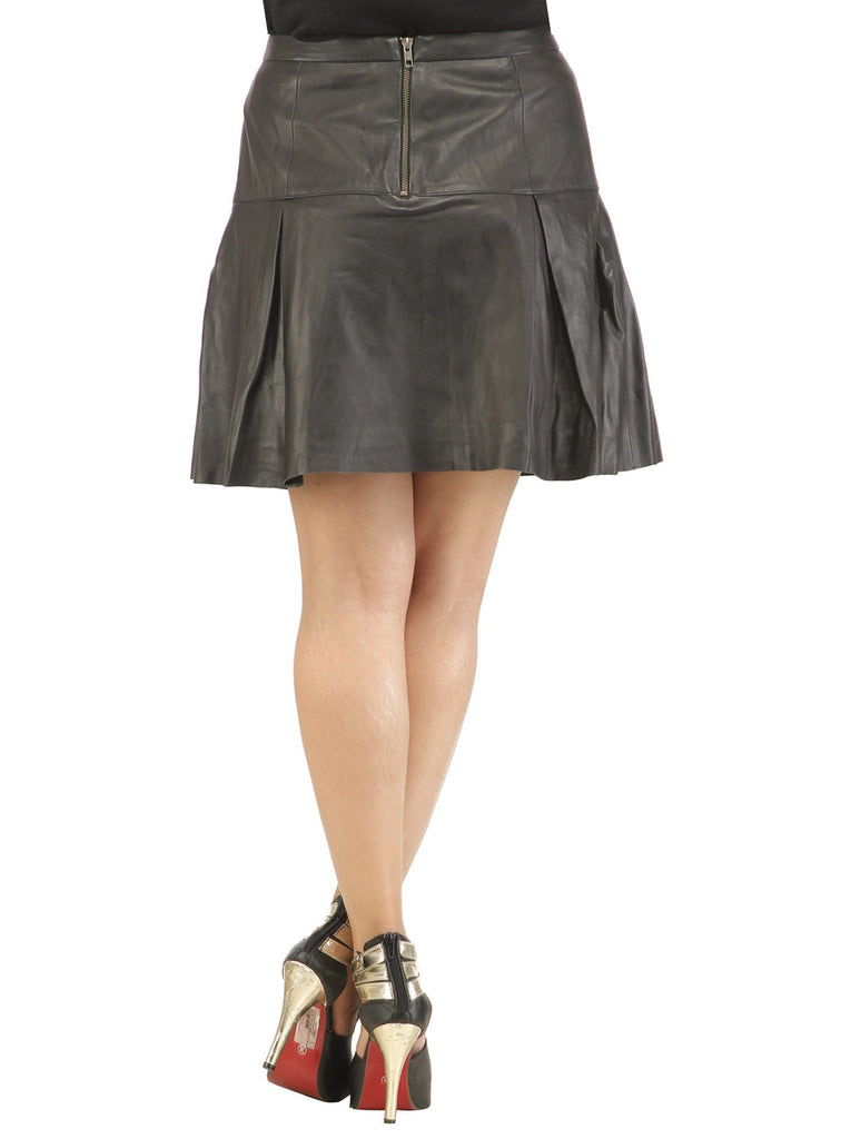 Leather Pleated Skirt , Women Leather Skirt - CrabRocks, LeatherfashionOnline  - 3