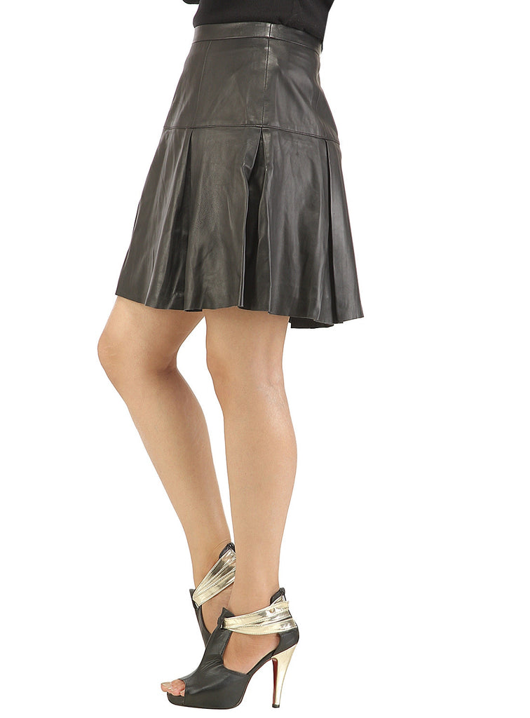 Leather Pleated Skirt , Women Leather Skirt - CrabRocks, LeatherfashionOnline  - 2