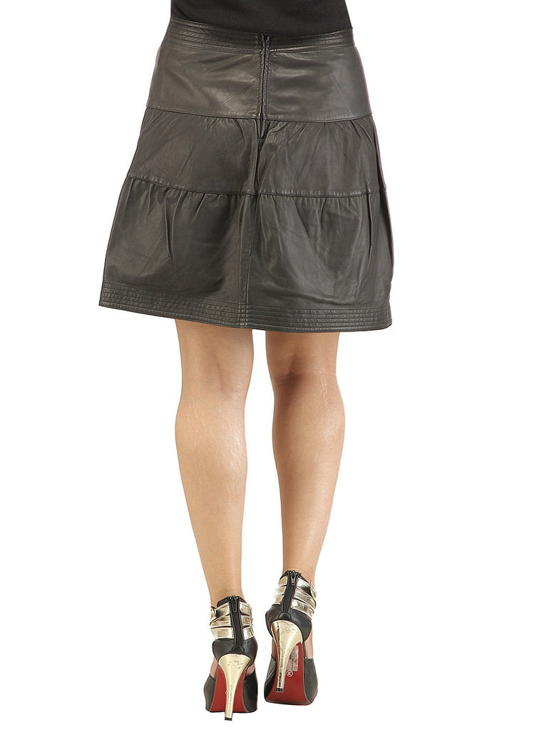 Leather Pleated Frock Style Ladies Skirt , Women Leather Skirt - CrabRocks, LeatherfashionOnline  - 3
