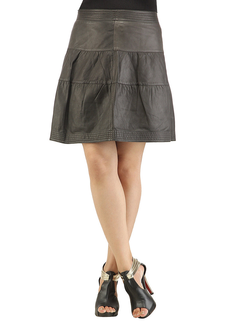 Leather Pleated Frock Style Ladies Skirt , Women Leather Skirt - CrabRocks, LeatherfashionOnline  - 1