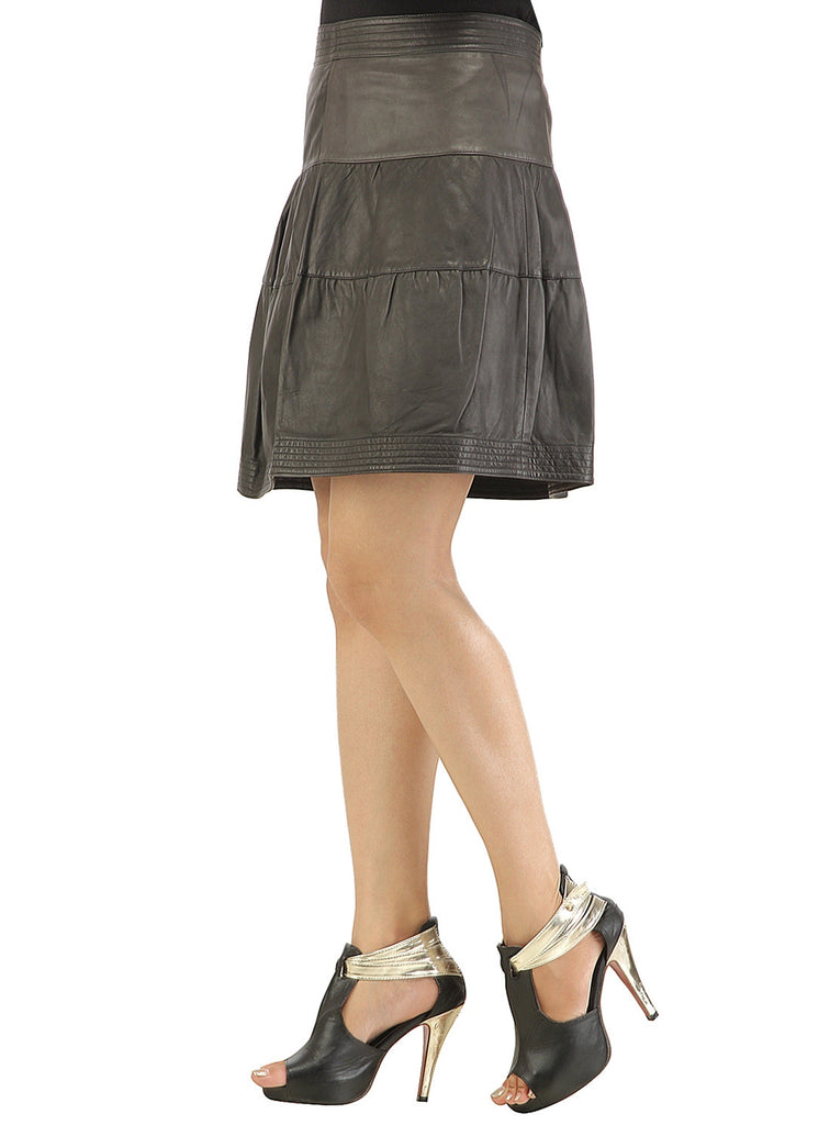 Leather Pleated Frock Style Ladies Skirt , Women Leather Skirt - CrabRocks, LeatherfashionOnline  - 2