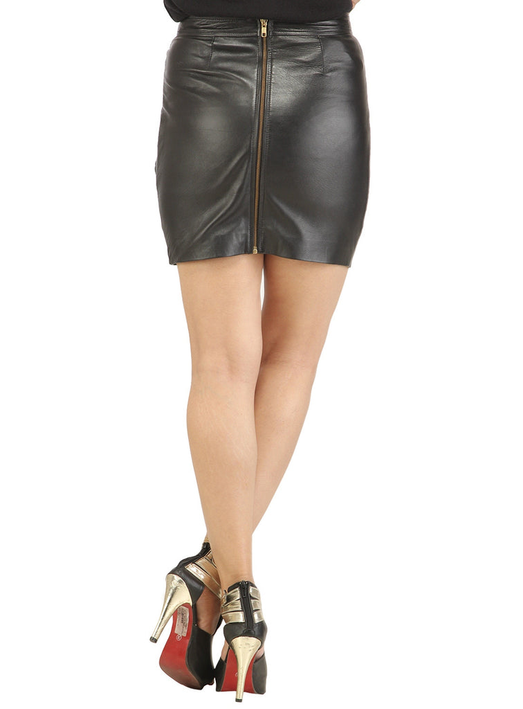 Women Designer Crinkled - Strip Cut Leather Skirt , Women Leather Skirt - CrabRocks, LeatherfashionOnline  - 2