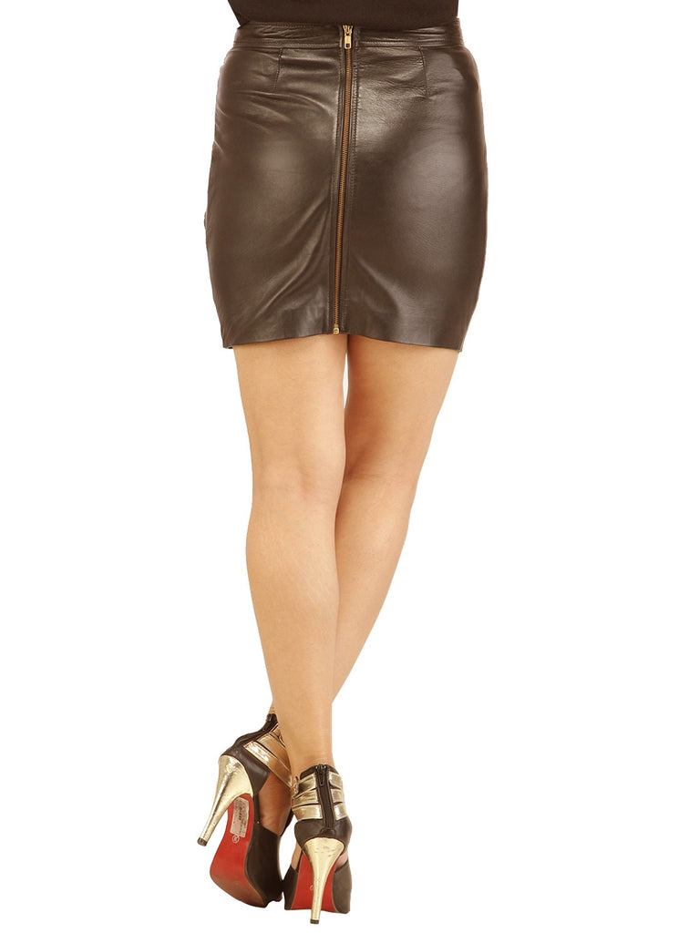 Women Designer Crinkled - Strip Cut Leather Skirt , Women Leather Skirt - CrabRocks, LeatherfashionOnline  - 5