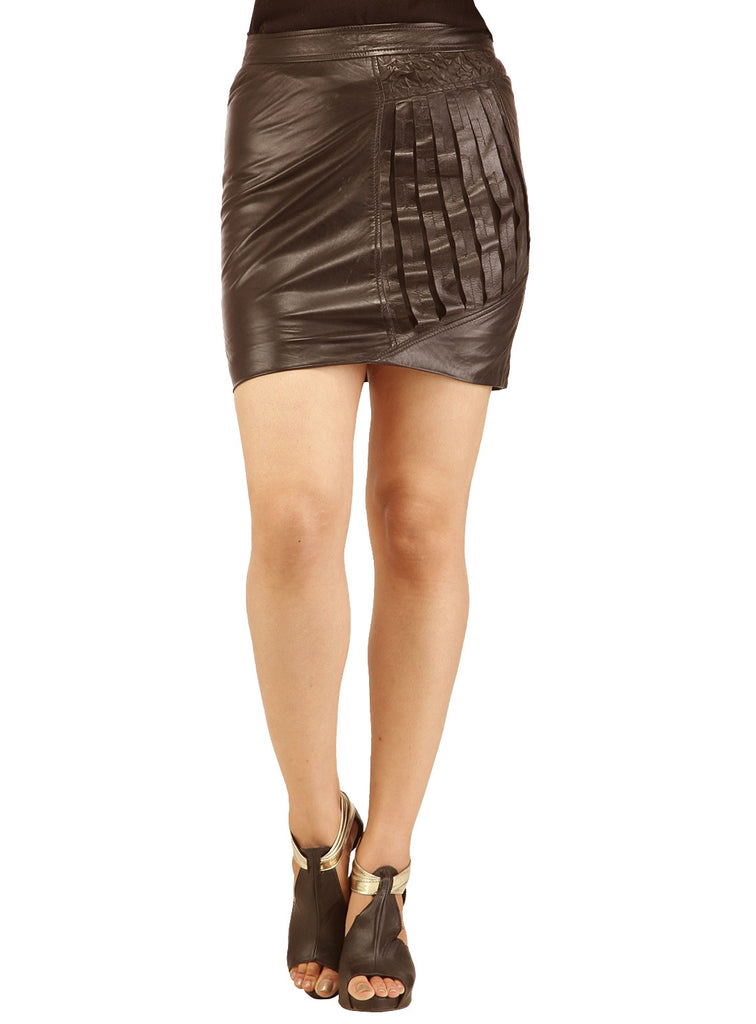 Women Designer Crinkled - Strip Cut Leather Skirt , Women Leather Skirt - CrabRocks, LeatherfashionOnline  - 6