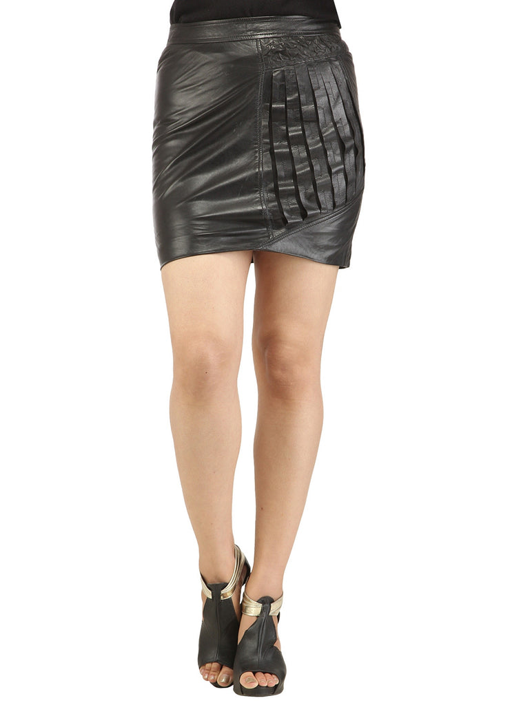 Women Designer Crinkled - Strip Cut Leather Skirt , Women Leather Skirt - CrabRocks, LeatherfashionOnline  - 3