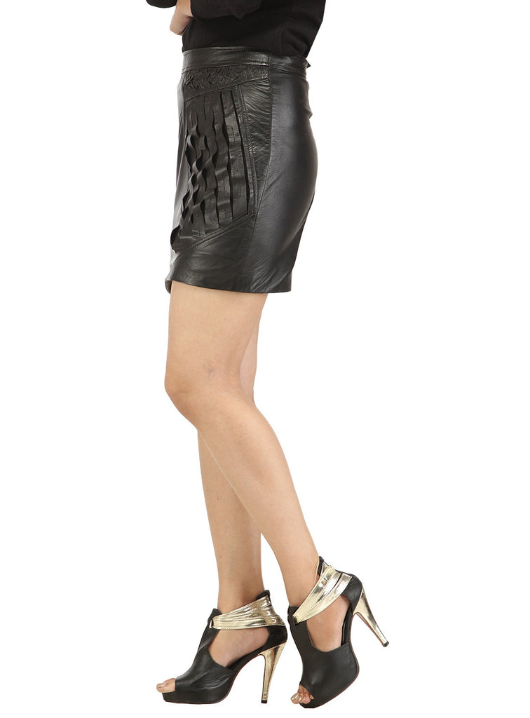Women Designer Crinkled - Strip Cut Leather Skirt , Women Leather Skirt - CrabRocks, LeatherfashionOnline  - 4