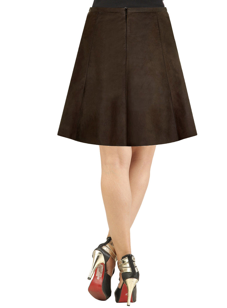 Women Short A-Line Leather Suede Skirt , Women Leather Skirt - CrabRocks, LeatherfashionOnline  - 2