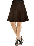 Women Short A-Line Leather Suede Skirt XS / BROWN / LEATHER SUEDE, Women Leather Skirt - CrabRocks, LeatherfashionOnline  - 1