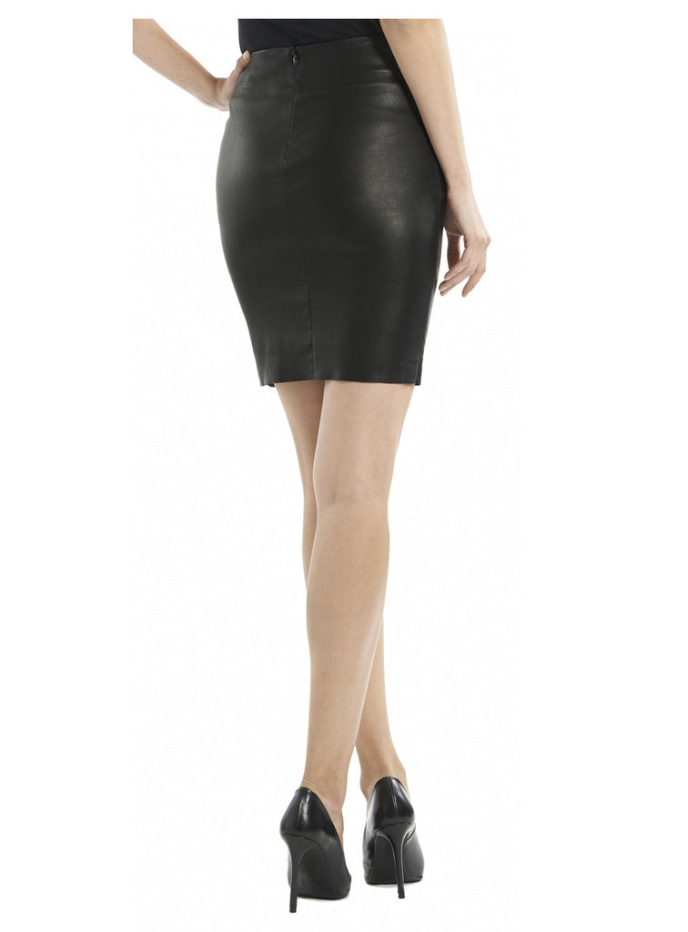 Leather Women Mini Fitted Skirt-- Hot Seller , Women Leather Skirt - CrabRocks, LeatherfashionOnline  - 4