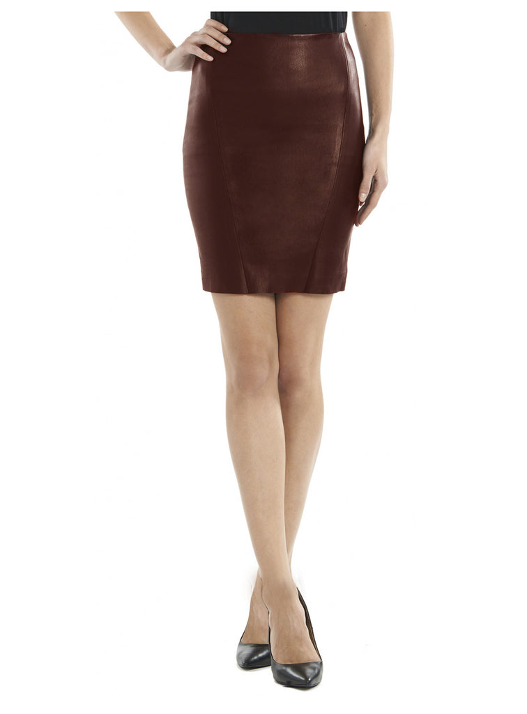 Leather Women Mini Fitted Skirt-- Hot Seller S / Leather / Brown, Women Leather Skirt - CrabRocks, LeatherfashionOnline  - 1