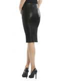Leather Women Knee Length Fitted Skirt-- Hot Seller , Women Leather Skirt - CrabRocks, LeatherfashionOnline  - 4