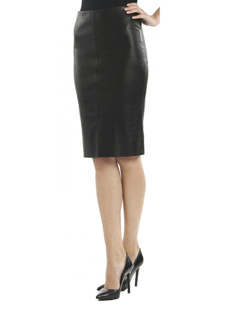 Leather Women Knee Length Fitted Skirt-- Hot Seller S / Leather / Black, Women Leather Skirt - CrabRocks, LeatherfashionOnline  - 3