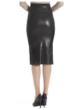 Leather Women Knee Length Pencil Skirt with Zipped Front , Women Leather Skirt - CrabRocks, LeatherfashionOnline  - 2