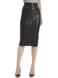 Leather Women Knee Length Pencil Skirt with Zipped Front S / Leather / Black, Women Leather Skirt - CrabRocks, LeatherfashionOnline  - 1