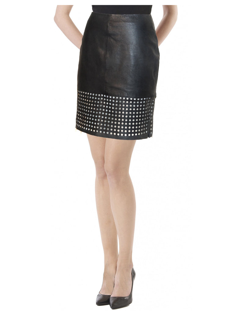 Leather Women Hem Skirt S / Leather / Black, Women Leather Skirt - CrabRocks, LeatherfashionOnline  - 1