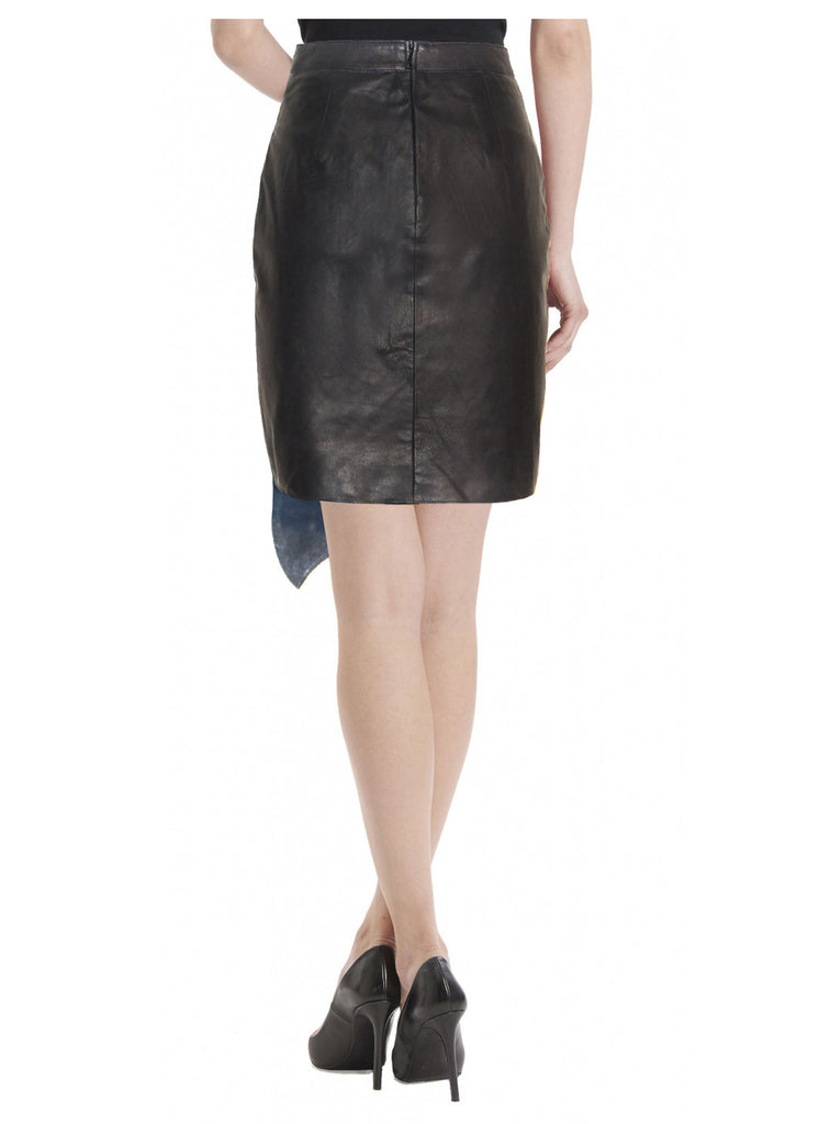 CrabRocks Asymmetrical Soft Lamb Leather Women Skirt , Women Leather Skirt - CrabRocks, LeatherfashionOnline  - 3