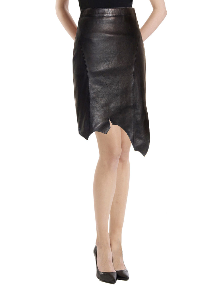 CrabRocks Asymmetrical Soft Lamb Leather Women Skirt , Women Leather Skirt - CrabRocks, LeatherfashionOnline  - 2