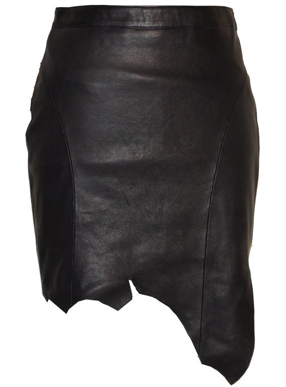 CrabRocks Asymmetrical Soft Lamb Leather Women Skirt S / Leather / Black, Women Leather Skirt - CrabRocks, LeatherfashionOnline  - 1