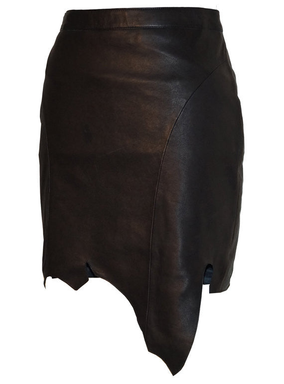 CrabRocks Asymmetrical Soft Lamb Leather Women Skirt , Women Leather Skirt - CrabRocks, LeatherfashionOnline  - 4