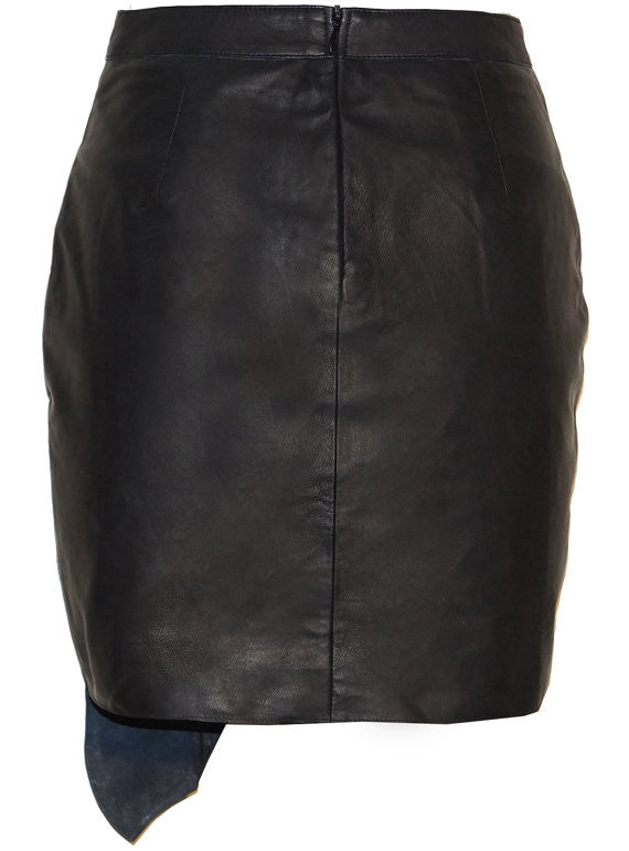 CrabRocks Asymmetrical Soft Lamb Leather Women Skirt , Women Leather Skirt - CrabRocks, LeatherfashionOnline  - 5