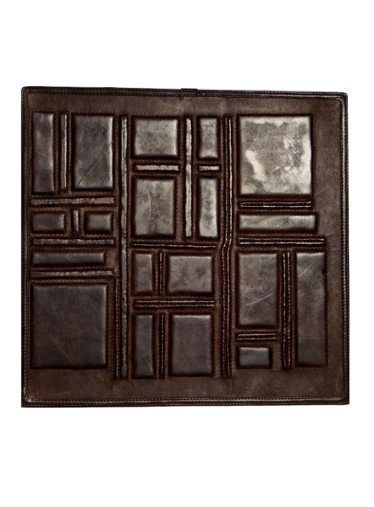 Leather Designer Asymmetrical Decorative Wall Tiles Brown, Leather Tiles - CrabRocks, LeatherfashionOnline  - 1