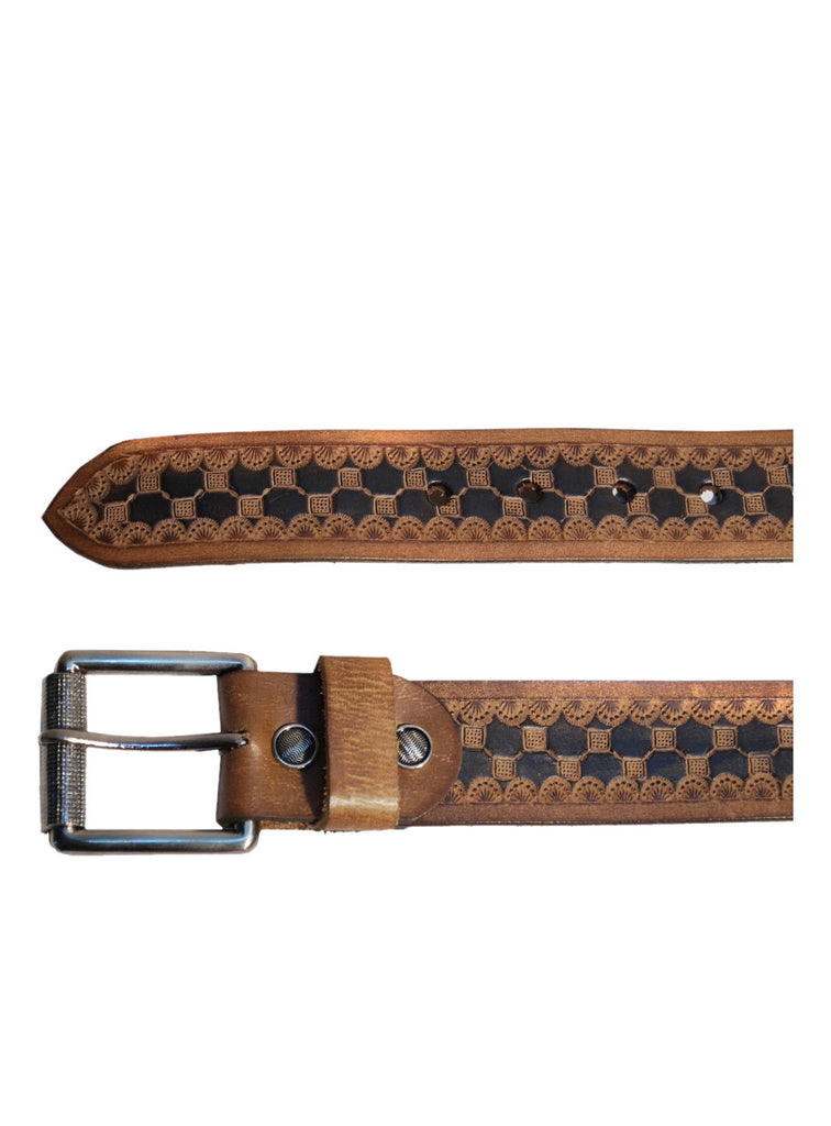 Men's Leather Hand Tooling Belt , Belt - CrabRocks, LeatherfashionOnline  - 2
