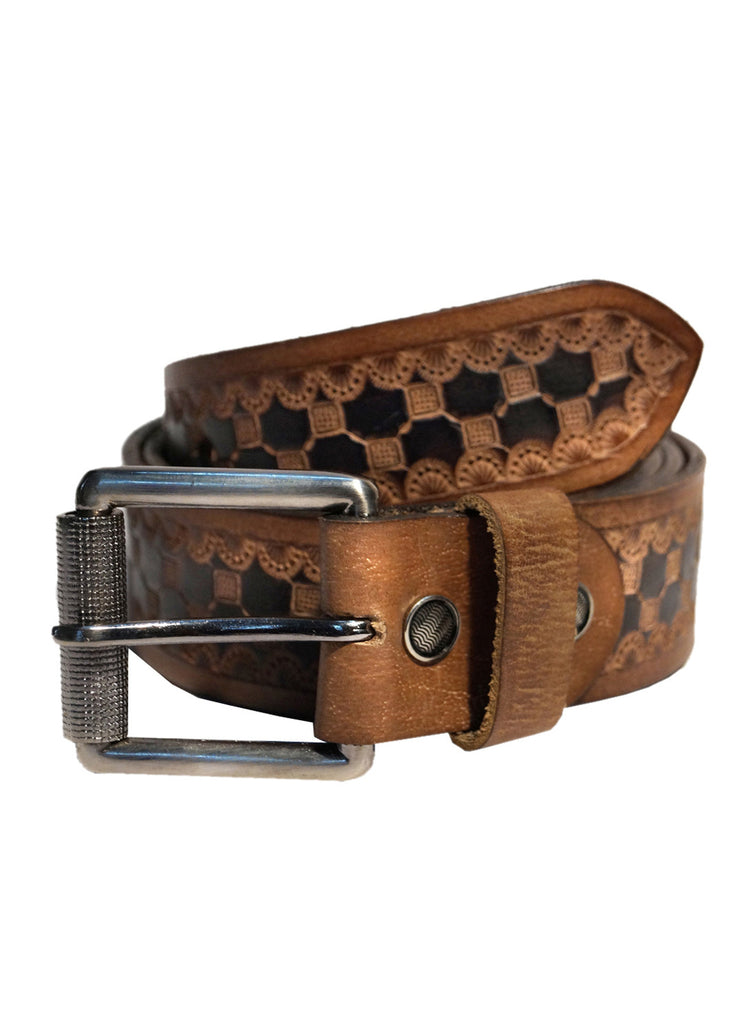Men's Leather Hand Tooling Belt , Belt - CrabRocks, LeatherfashionOnline  - 1