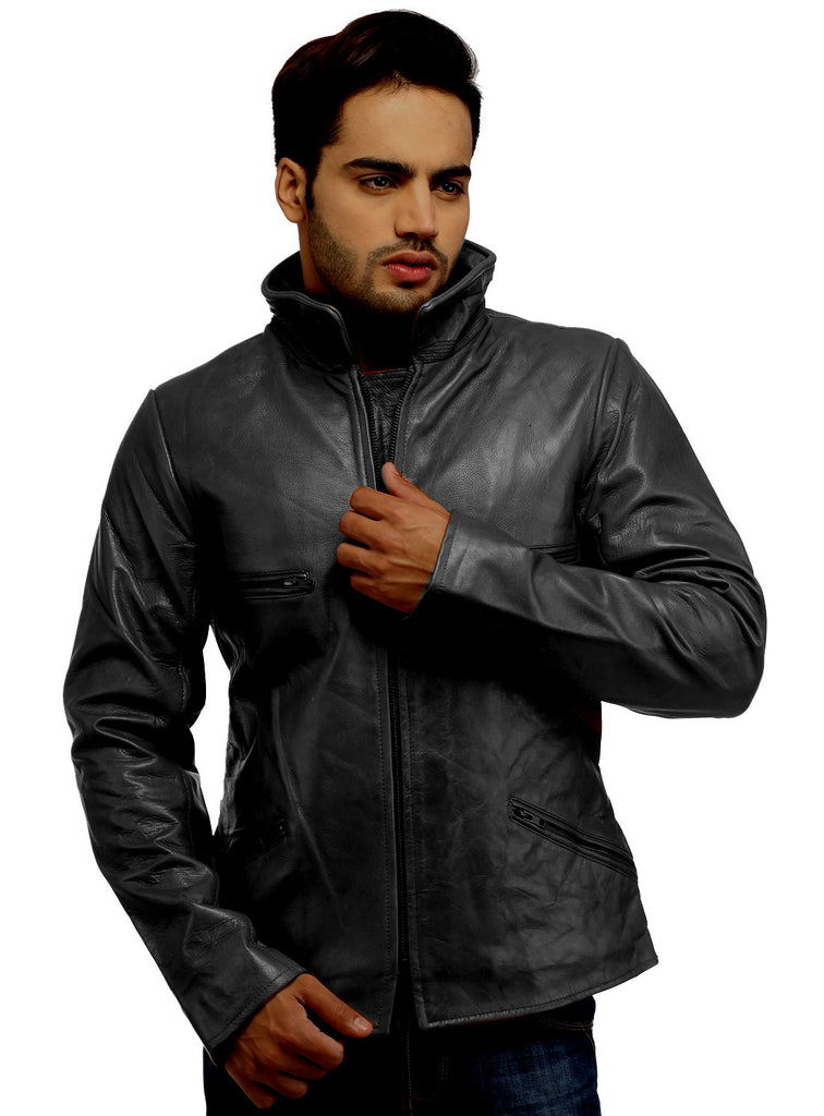 Men's Classic Leather Biker Jacket Ash Grey / S / Leather, Men Jacket - CrabRocks, LeatherfashionOnline  - 4