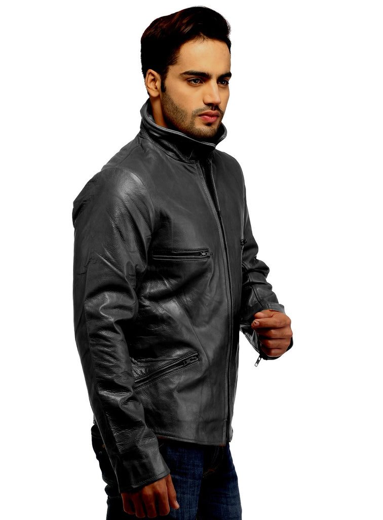 Men's Classic Leather Biker Jacket , Men Jacket - CrabRocks, LeatherfashionOnline  - 5