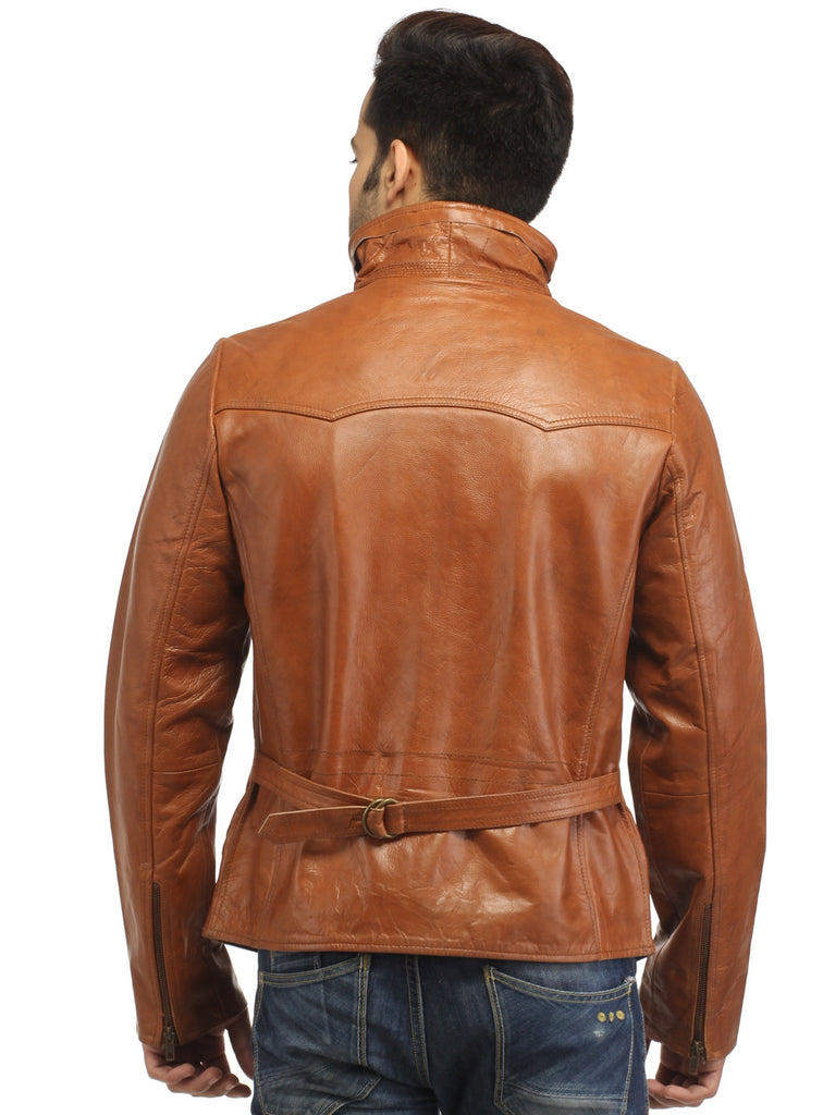 Men's Classic Leather Biker Jacket , Men Jacket - CrabRocks, LeatherfashionOnline  - 3