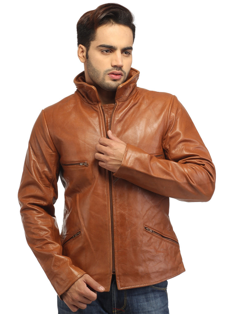 Men's Classic Leather Biker Jacket Brown / S / Leather, Men Jacket - CrabRocks, LeatherfashionOnline  - 1