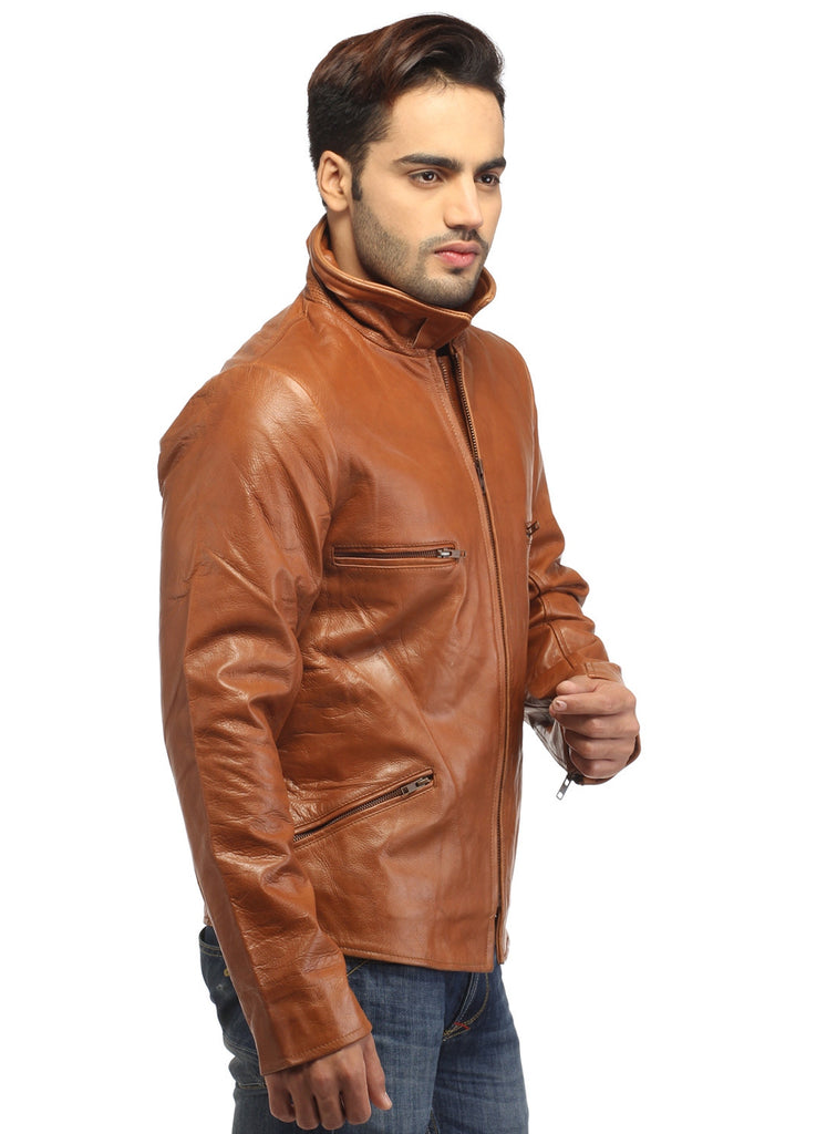 Men's Classic Leather Biker Jacket , Men Jacket - CrabRocks, LeatherfashionOnline  - 2