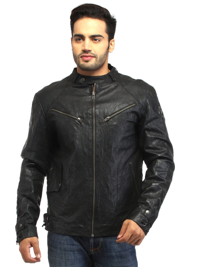 Men Vintage Crinkled Leather Biker Jacket with Dori Weave S / Leather / Black, Men Jacket - CrabRocks, LeatherfashionOnline  - 1
